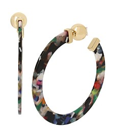 Star Bead & Abstract Hoop Front Back Earrings