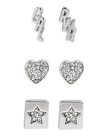 Silver GRL PWR Affirmation Stud Earrings Set