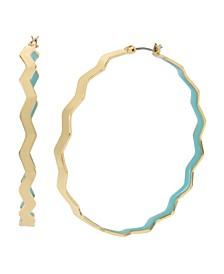 "Blue Zig Zag Large Hoop Earrings 2.3"""