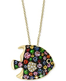 "Multi-Sapphire (1-3/8 ct. t.w.) & Diamond (1/20 ct. t.w.) Fish 18"" Pendant Necklace in 14k Gold"
