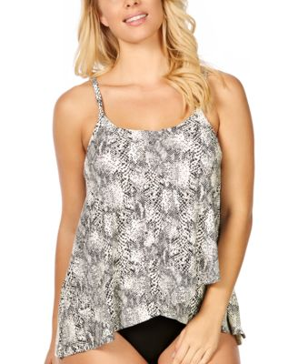 Cape Town Snake Printed Draped Underwire Tankini, Created For Macy's