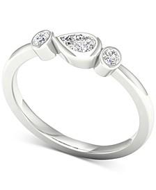Diamond Three-Stone Bezel Ring (1/5 ct. t.w.) in 10k White Gold