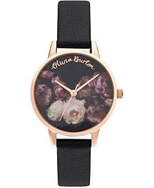 Women's Fine Art Black Leather Strap Watch 30mm