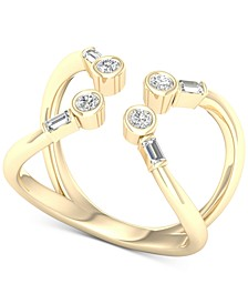 Diamond Round & Baguette Openwork Cuff Ring (1/3 ct. t.w.) in 10k Gold