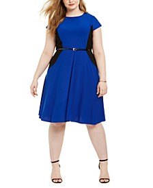 Plus Size Belted Colorblocked Dress