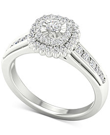 Diamond Halo Ring (1/2 ct. t.w.) in Sterling Silver