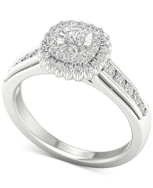 Macy's Diamond Halo Ring (1/2 ct. t.w.) in Sterling Silver