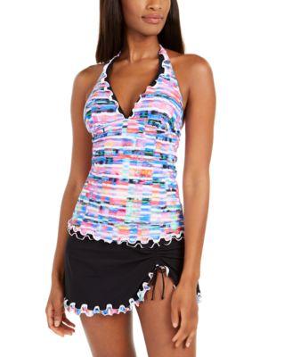Tricolore Printed Halter Tummy-Control Tankini Top, Created For Macy's