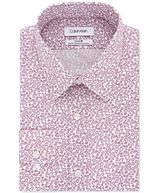 Calvin Klein Men's Steel Slim-Fit Non-Iron Performance Stretch Red Abstract-Print Dress Shirt