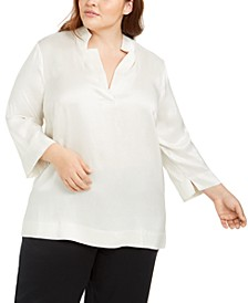 Plus Size Silk 3/4-Sleeve Top