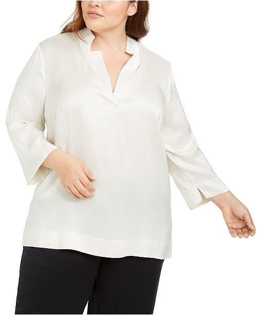 Eileen Fisher Plus Size Silk 3/4-Sleeve Top