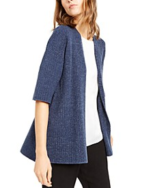 Elbow-Sleeve Sweater Cardigan