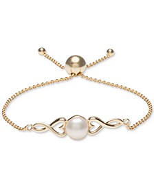 Cultured Freshwater Pearl (8mm) Heart Bolo Bracelet in 18k Gold-Plated Sterling Silver