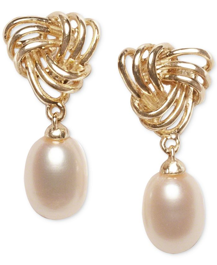 Macy's - Cultured Freshwater Pearl (7 x 9mm) Love Knot Drop Earrings in 18k Gold-Plated Sterling Silver