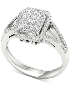 Diamond Halo Custer Split Shank Statement Ring (1 ct. t.w.) in 10k White Gold