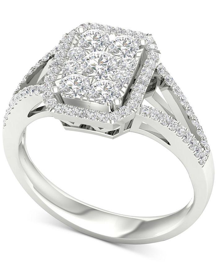 Macy's - Diamond Halo Custer Split Shank Statement Ring (1 ct. t.w.) in 10k White Gold