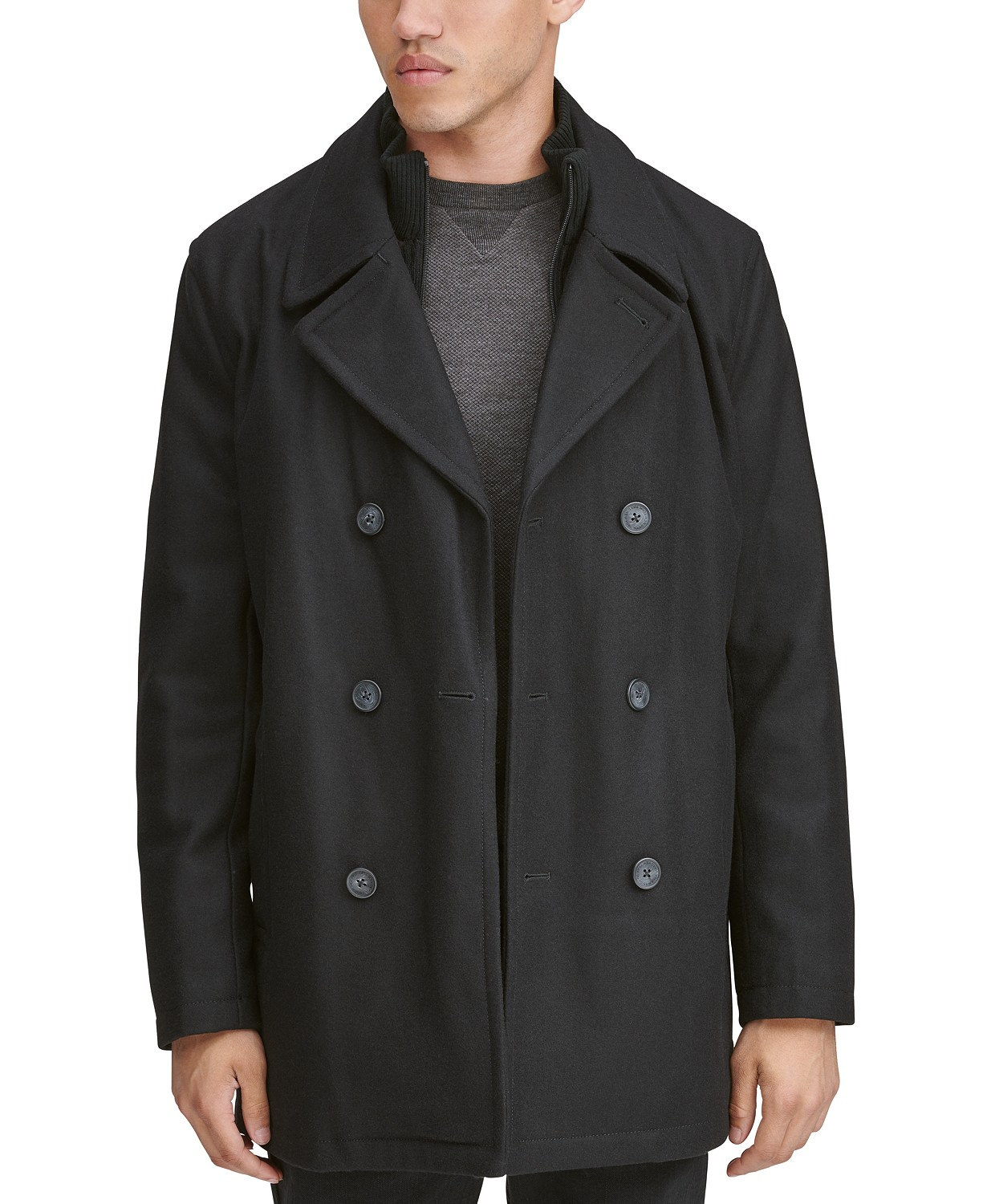 Men's Burnett Double Breasted Peacoat with Inset Knit Bib