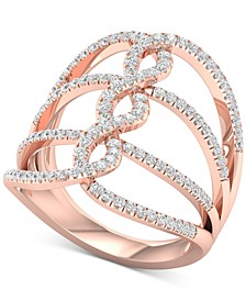 Diamond Wide Loop Openwork Statement Ring (5/8 ct. t.w.) in 10k Rose Gold