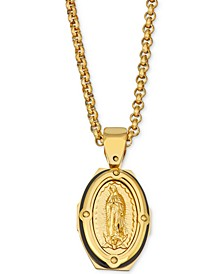 "Men's Mary 24"" Pendant Necklace in Yellow & Black Ion-Plated Stainless Steel"