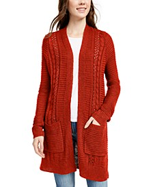 Juniors' Eyelet Long Cardigan