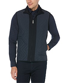 Men's Colorblocked Chevron Quilted Full-Zip Vest