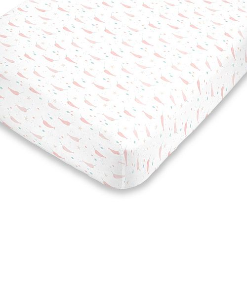 NoJo Watercolor Narwhal Fitted Mini Crib Sheet