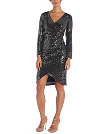 Sequined Faux-Wrap Dress