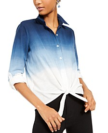 INC Petite Cotton Ombré Tie-Hem Shirt, Created For Macy's