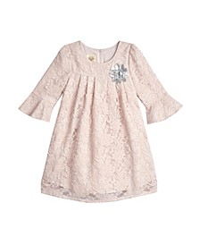 Little Girls London 3/4 Bell Sleeve Lace Overlay Dress