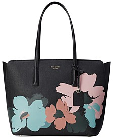 Margaux Brush Bloom Leather Tote
