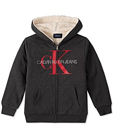 Big Boys Gray Fleece-Lined Full-Zip Logo Hoodie