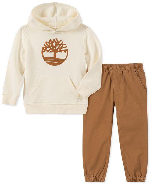 Timberland Little Boys 2-Pc. Fleece Logo Hoodie & Twill Pants Set