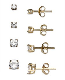 Cubic Zirconia 4-Pc. Set Graduated Stud Earrings in 18k Yellow or Rose Gold  over Sterling Silver