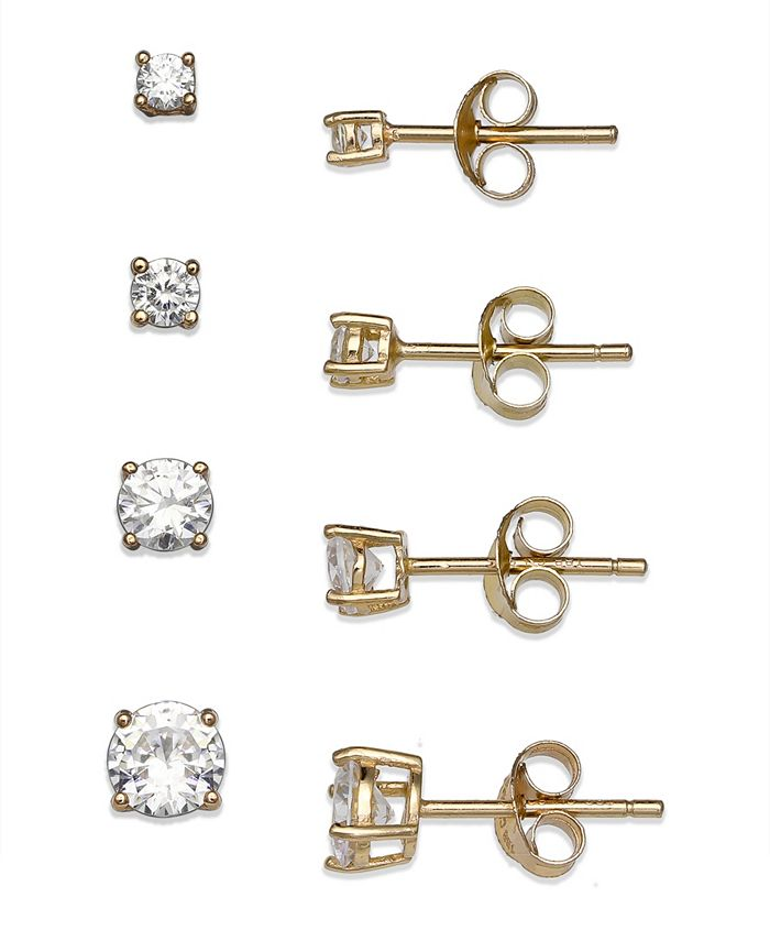 Giani Bernini - Cubic Zirconia 4-Pc. Set Graduated Stud Earrings in 18k Yellow or Rose Gold  over Sterling Silver