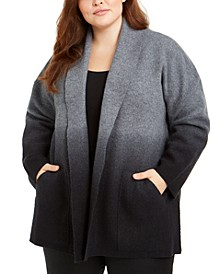Plus Size Wool Ombré Open-Front Cardigan