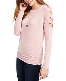 BCX Juniors' Lattice-Sleeve Top