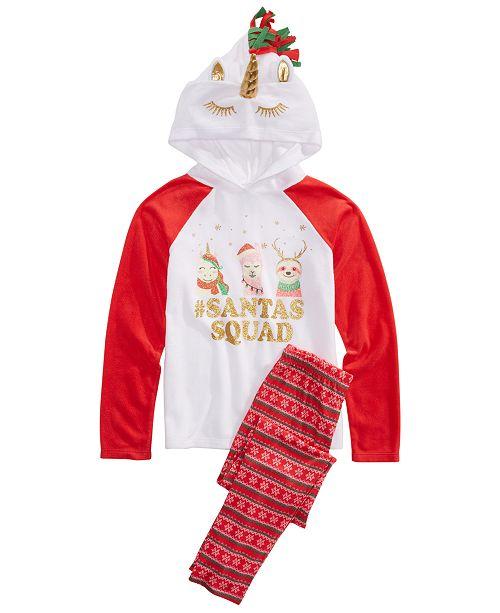 Max & Olivia Little & Big Girls 2-Pc. Santa's Squad Pajamas Set