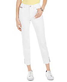 Striped-Cuff Cropped Jeans