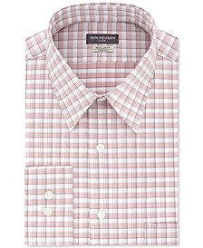 Men's Classic/Regular-Fit Wrinkle-Free Performance Stretch Flex Collar Plaid Dress Shirt