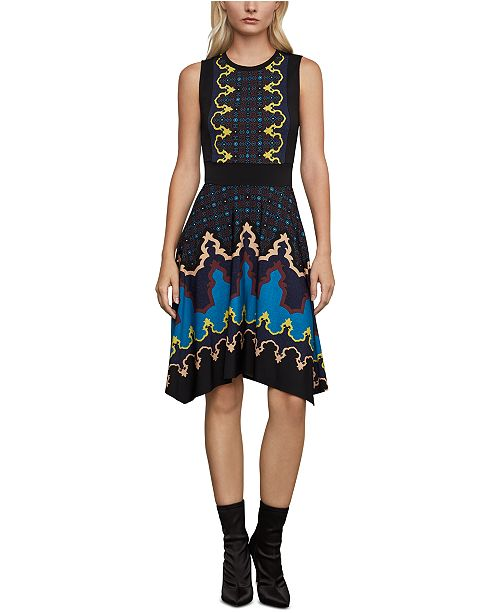 BCBGMAXAZRIA Printed Fit & Flare Dress