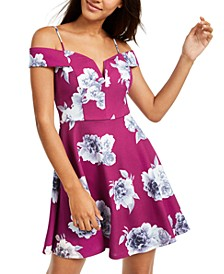 Juniors' Off-The-Shoulder Floral-Print Dress