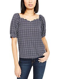 Monteau Petite Scalloped Sweetheart-Neck Top