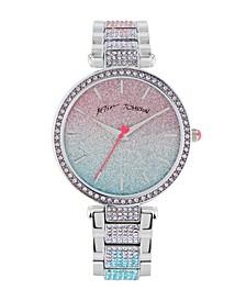 Women's Gradient Glitter Dial Silver-Tone Metal Bracelet Strap Watch 36Mm