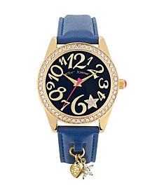 Women's Star Charm Blue Leather Strap Watch 40Mm