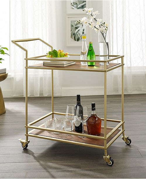 Nicole Miller Lonnie Serving Bar Cart with Metal Frame