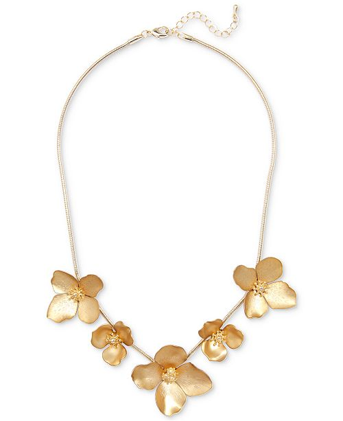 """Zenzii 18k Gold-Plated Painted Finish Flower Statement Necklace, 17-1/2"""" + 2"""" extender"""