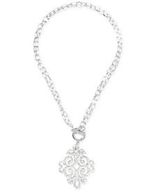 "Silver-Tone & Glitter Resin 36"" Pendant Necklace"