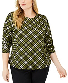 Plus Size Printed Long-Sleeve Top