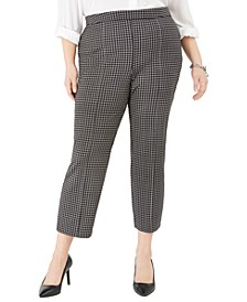 Plus Size Check-Print Side-Zip Cropped Pants