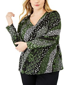 Plus Size Mixed-Print Top